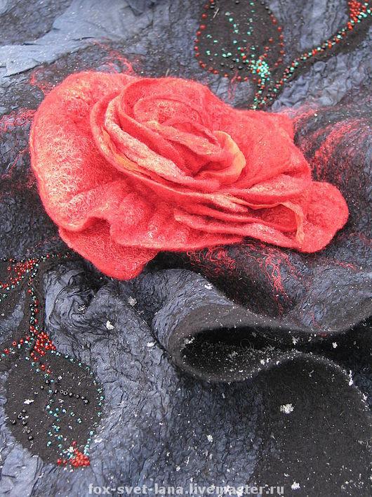 """Шали, палантины ручной работы. Ярмарка Мастеров - ручная работа. Купить Палантин """"Донна Роза"""". Handmade. Валяный палантин"""