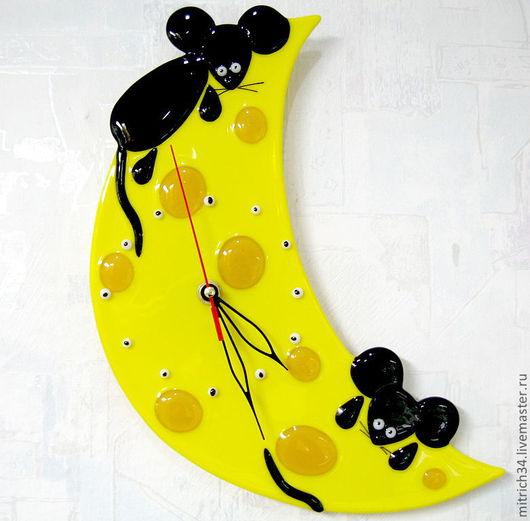 Часы для дома ручной работы. Ярмарка Мастеров - ручная работа. Купить Сырные часики. Handmade. Фьюзинг, часы настенные, сыр