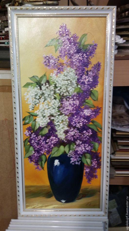 Картины цветов ручной работы. Ярмарка Мастеров - ручная работа. Купить Картина рисованная маслом Цветы, в багете 85х35см. Handmade.