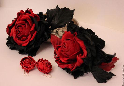 """Комплекты украшений ручной работы. Ярмарка Мастеров - ручная работа. Купить Комплект """"Le rouge et le noir"""". Handmade."""