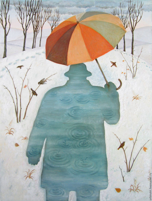 Фантазийные сюжеты ручной работы. Ярмарка Мастеров - ручная работа. Купить Оттепель. Handmade. Тёмно-бирюзовый, оттепель, зонтик, деревья