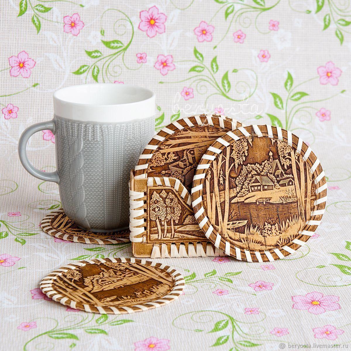 Set napkin holder 6 stands for a mug of birch bark, Stand, Novosibirsk, Фото №1