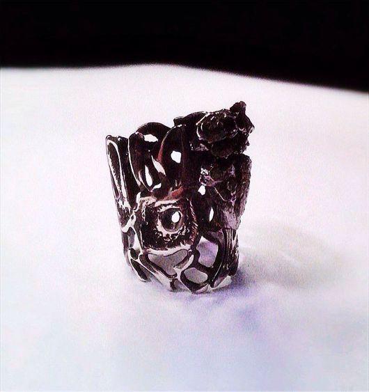 Кольца ручной работы. Ярмарка Мастеров - ручная работа. Купить Кольца из серебра с железными метеоритами. Handmade. Кольцо, Метеорит