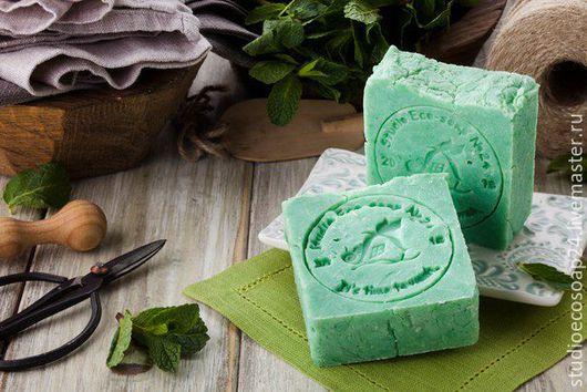 Мыло ручной работы. Ярмарка Мастеров - ручная работа. Купить Натуральное эко-мыло Мята. Handmade. Ярко-зелёный
