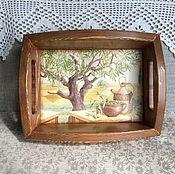 """Для дома и интерьера ручной работы. Ярмарка Мастеров - ручная работа Поднос """"В тени оливковых деревьев"""". Handmade."""