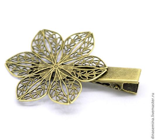 Зажим цветок 6 лепестков античная бронза. Крокодил - основа для заколки или для брошки 1 шт - 18 руб.