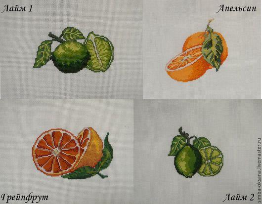 """Натюрморт ручной работы. Ярмарка Мастеров - ручная работа. Купить Вышитые миниатюры """" Цитрусы"""". Handmade. Комбинированный, лимон, цитрусовые"""