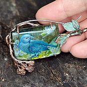 Украшения handmade. Livemaster - original item Brooch-pin: Blue BIRD of HAPPINESS. Handmade.