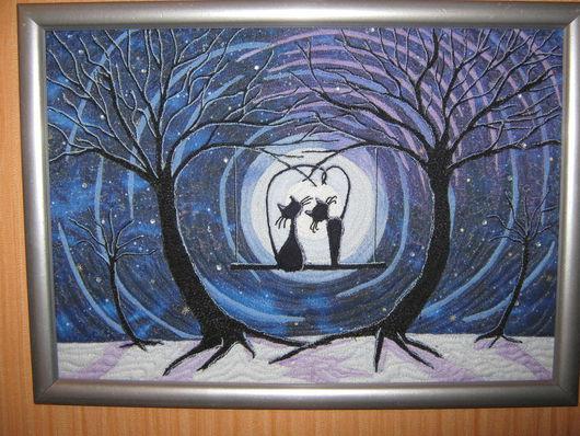 """Животные ручной работы. Ярмарка Мастеров - ручная работа. Купить Квилт """"Двое на качелях"""". Handmade. Синий, кошка, луна, романтика"""