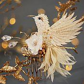 """Украшения ручной работы. Ярмарка Мастеров - ручная работа Гребень с птицей колибри """"сияние нежности"""". Handmade."""