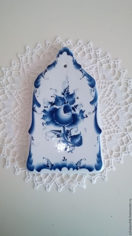 Винтажная посуда. Ярмарка Мастеров - ручная работа. Купить Винтаж: 23,3 см. Разделочная доска. Гжель. Handmade.