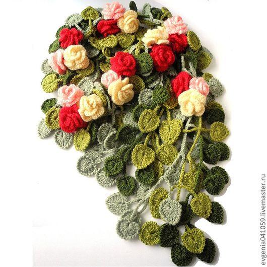 Шарфы и шарфики ручной работы. Ярмарка Мастеров - ручная работа. Купить теплый шарф вязаный крючком. шарф цветы. вязанный шарф. яркий шарф.. Handmade.