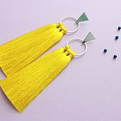 Украшения handmade. Livemaster - original item Yellow tassel earrings. Handmade.