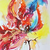 Картины и панно handmade. Livemaster - original item Fantasy flowers is a triptych on canvas. Handmade.