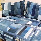 handmade. Livemaster - original item Denim set Bedspread and cushion cover. Handmade.