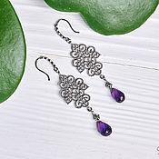 Украшения handmade. Livemaster - original item Long East earrings with amethysts in silver. Handmade.