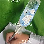 """Свадебный салон ручной работы. Ярмарка Мастеров - ручная работа Ручка-сувенир """"Лебеди"""". Handmade."""