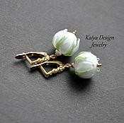 """Украшения ручной работы. Ярмарка Мастеров - ручная работа Серьги """"White flowers """"  gold. Handmade."""