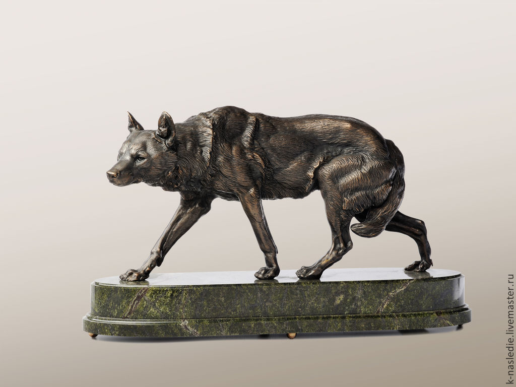 Статуэтки ручной работы. Ярмарка Мастеров - ручная работа. Купить Статуэтка Волк (бронзовая статуэтка волка, черный). Handmade.