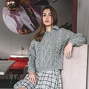 handmade. Livemaster - original item Jerseys: Women`s polo sweater in grey wool. Handmade.