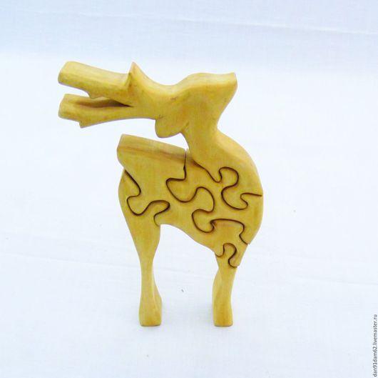 """Развивающие игрушки ручной работы. Ярмарка Мастеров - ручная работа. Купить Пазл """"Олень"""". Handmade. Оранжевый, статуэтка, игрушка для ребенка"""