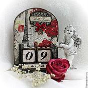 """Канцелярские товары ручной работы. Ярмарка Мастеров - ручная работа Вечный календарь """"Весна в Париже"""". Handmade."""