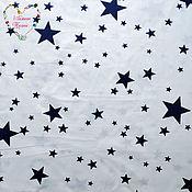 handmade. Livemaster - original item Fabric cotton dark blue stars on white. Handmade.