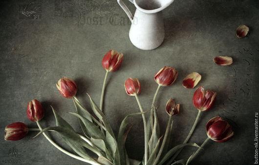 Фотокартины ручной работы. Ярмарка Мастеров - ручная работа. Купить Открытка с тюльпанами Натюрморт фото, картина. Handmade. Ярко-красный