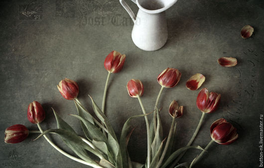 Фотокартины ручной работы. Ярмарка Мастеров - ручная работа. Купить Натюрморт фото, картина Открытка с тюльпанами. Handmade. Ярко-красный