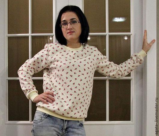 Кофты и свитера ручной работы. Ярмарка Мастеров - ручная работа. Купить свитшот женский. Handmade. Белый, цветочный, свитшот с рисунком