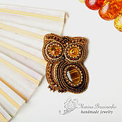 Brooches handmade. Livemaster - original item Brooch beaded with stone Forest owl brown gold. Handmade.