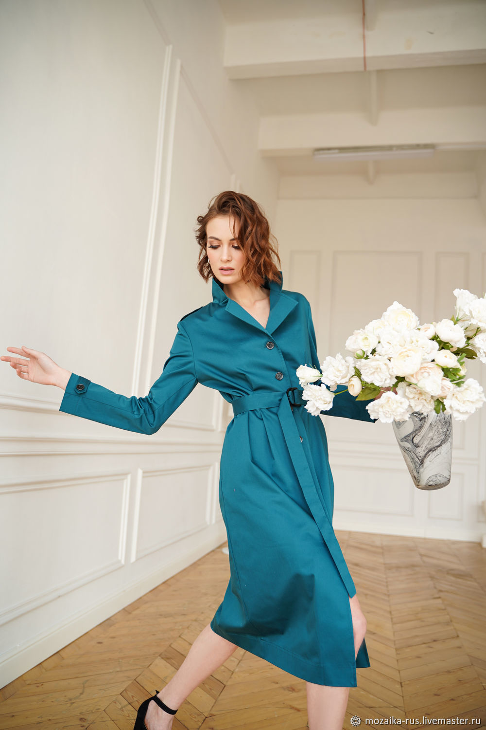 Turquoise Cotton Trench Dress, Raincoat Midi Dress for Office Blue Turquoise, Dresses, Novosibirsk,  Фото №1