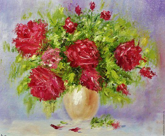 Картины цветов ручной работы. Ярмарка Мастеров - ручная работа. Купить Розы (25х30 см., масло). Handmade. Комбинированный, для натроения