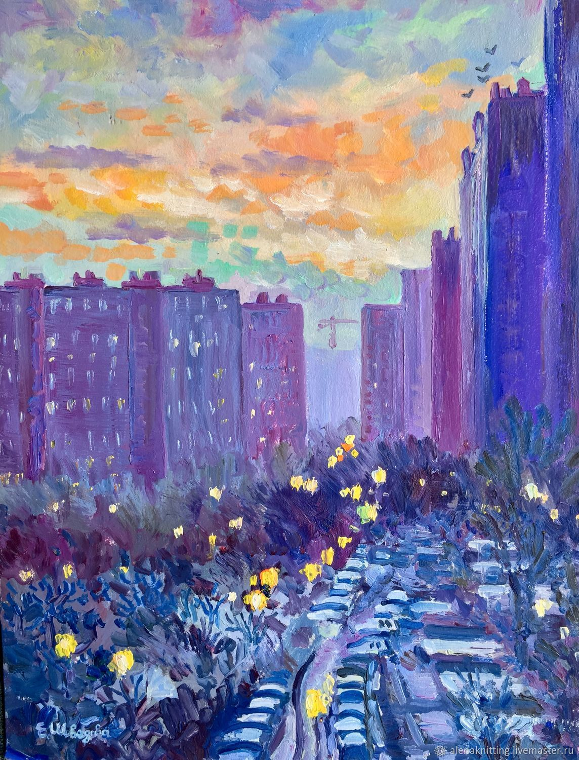 Oil painting'the City wakes up', Pictures, Moscow,  Фото №1