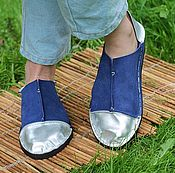 Обувь ручной работы handmade. Livemaster - original item Espadrilles made of suede and leather Blue with silver. Handmade.