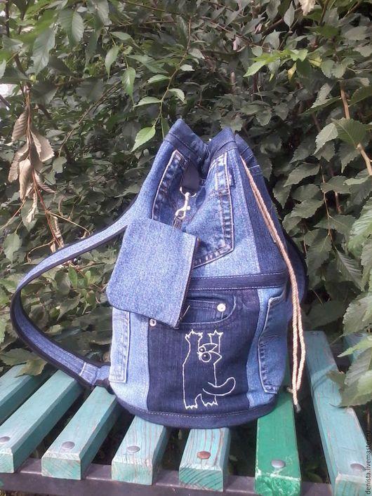 Рюкзаки ручной работы. Ярмарка Мастеров - ручная работа. Купить Рюкзак джинсовый SIMON CAT. Handmade. Рюкзак, рюкзак для мальчика