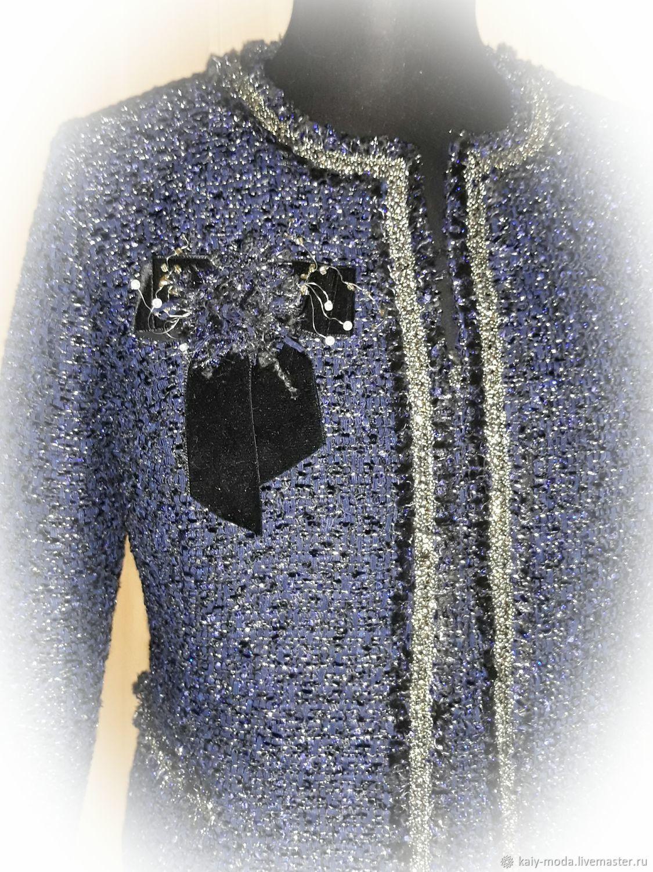 Синий костюм в стиле Шанель