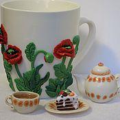Посуда ручной работы. Ярмарка Мастеров - ручная работа Декорирование посуды и столовых приборов (запекаемая полимерная глина). Handmade.