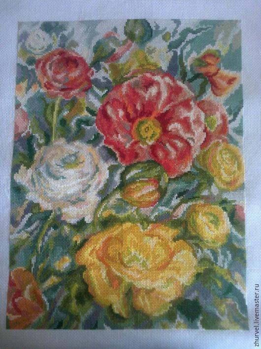Картины цветов ручной работы. Ярмарка Мастеров - ручная работа. Купить акварельные розы. Handmade. Коралловый, желтый зеленый