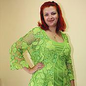 """Одежда ручной работы. Ярмарка Мастеров - ручная работа Авторский жакет """"Зеленая фантазия"""" вязаный крючком. Handmade."""