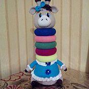 Мягкие игрушки ручной работы. Ярмарка Мастеров - ручная работа Вязаная игрушка - Пирамидка Жирафик. Handmade.