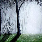 Картины и панно ручной работы. Ярмарка Мастеров - ручная работа картина    Утро  свет   пейзаж  акрил   лес  деревья. Handmade.