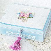 """Свадебный салон ручной работы. Ярмарка Мастеров - ручная работа """"Голубой и розовый"""" шкатулка для конвертов (повтор). Handmade."""
