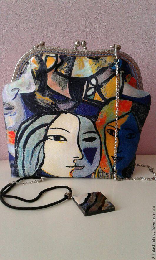 """Женские сумки ручной работы. Ярмарка Мастеров - ручная работа. Купить сумочка """"Пикассо"""". Handmade. Голубой, фермуар"""