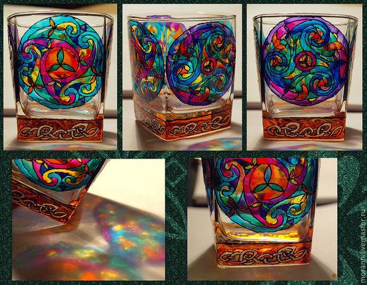 Бокалы, стаканы ручной работы. Ярмарка Мастеров - ручная работа. Купить Кельтские орнаменты. Handmade. Кельтский орнамент, стакан, Витраж