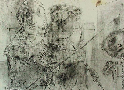 Абстракция ручной работы. Ярмарка Мастеров - ручная работа. Купить Старый Рим. Handmade. Серый, графика, картина для интерьера