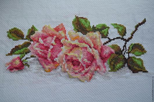 Картины цветов ручной работы. Ярмарка Мастеров - ручная работа. Купить Чайная роза. Handmade. Ручная вышивка, цветок, розы