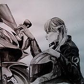 Картины и панно ручной работы. Ярмарка Мастеров - ручная работа Портрет мотоциклистки Эммы. Handmade.