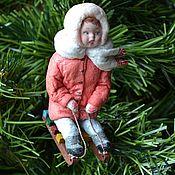 Куклы и игрушки handmade. Livemaster - original item cotton toy christmas girl on a sled. Handmade.