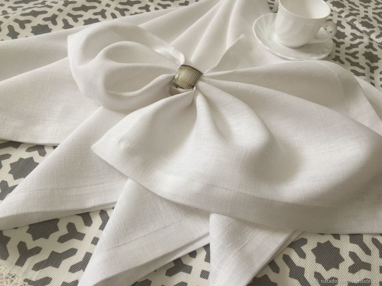 Linen napkins 'Snow-white linen' in stock, Swipe, Ivanovo,  Фото №1